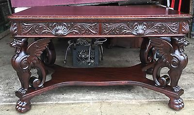 R. J. Horner Carved Mahogany Winged Griffin Partners Desk
