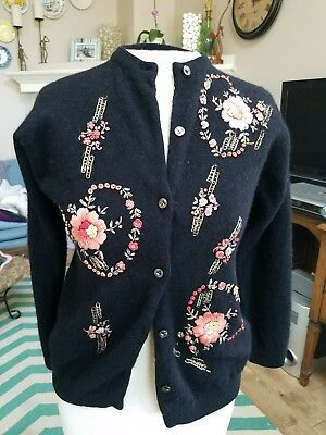 Rare Vintage Embroidered Sweater Cardigan ☆ So Beautiful ☆ Xs ☆ Hollywood Glam