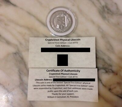 Cryptovest Zinodaur Special First Edition #773 Physical Litecoin Wallet Coin