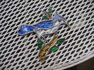 Stained Glass Window Hanging Blue Jay Bird ~ Jeweled And Colorful