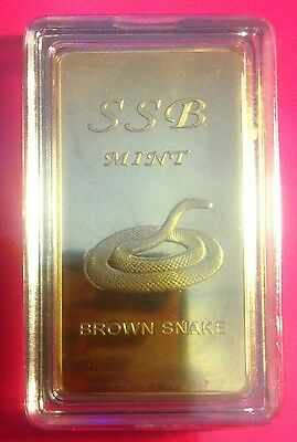 1 oz .999 Solid Brass Bullion Certified Ingot (Brown Snake) 8 To Collect