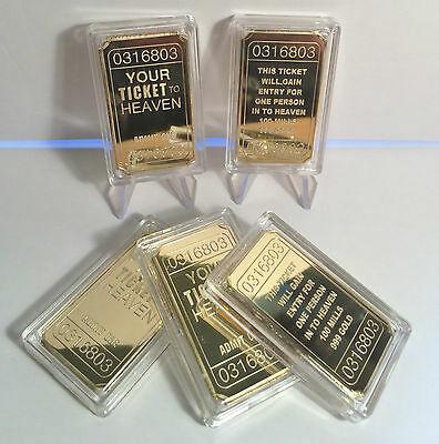 "NEW: 1 x YOUR TICKET TO HEAVEN ""Admit One"" 1 oz Ingot Finished in 999 24k Gold"