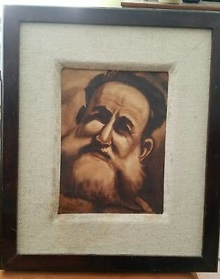 Vintage OIL PAINTING On Canvas Portrait of an Israeli Man Signed Todd 17x20""