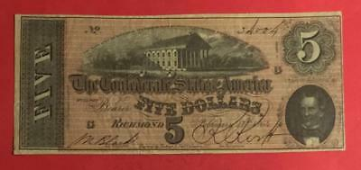 1864 $5 US Confederate States of America! Choice VF! Old US Paper Currency