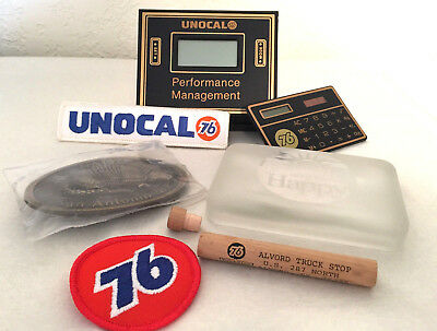UNION 76 COLLECTIBLES-2 PATCHES-2 CALCULATORS-BELT BUCKLE-PAPER WEIGHT etc.
