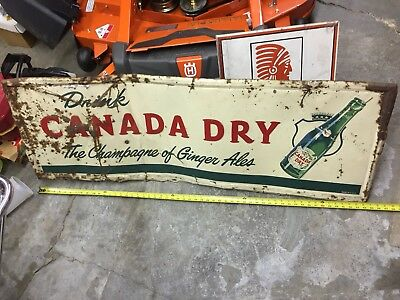 """Vintage Large Canada Dry Metal Embossed Advertising Sign approx 55"""""""