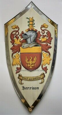 Custom coat of arms shield medieval lg. metal knight shield w. brass decor