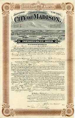 1909 City of Madison Bond Certificate – vignette of steamboats on Ohio River