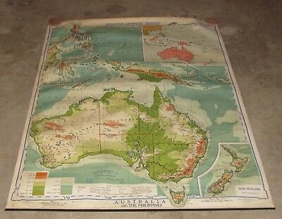 "Large 1938 Australia School Map Denoyer Geppert Co. Chicago 59""x43"""