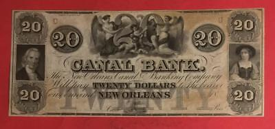 "1861 $20 Choice Crisp AU ""LOUISIANA"" LARGE SIZE"" Paper Money Currency"
