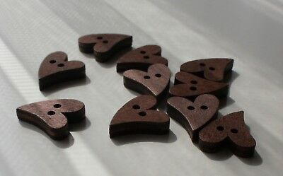 10 Wooden Heart Shaped Buttons Craft Scrapbooking Knitting etc