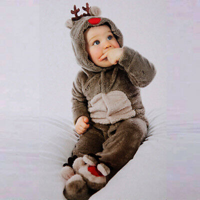 Newborn Baby Clothes Girl Boy Deer Romper Winter Warm Outwear Outfits Gift US