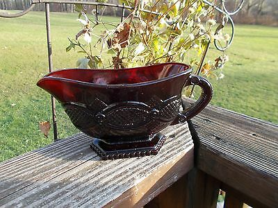 Avon 1876 Cape Cod Ruby Red Collection Footed Sauce Boat