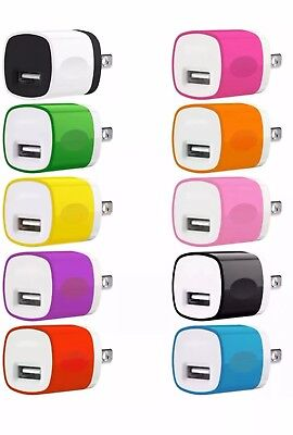 50x Color 1A USB Power Adapter AC Home Wall Charger US Plug FOR iPhone 5 6 7