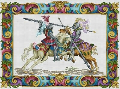 Medieval Jousting Knights -  Cross Stitch Chart Free Postage