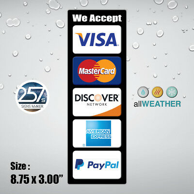 Credit Card Logo Visa MasterCard AE PayPal Apple Pay Cashier Window Door Sticker