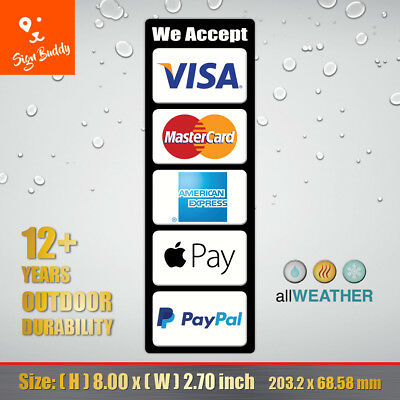 Credit Card Logo Visa MasterCard AE PayPal Apple Pay Cashier Door Window Sticker