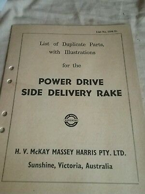 Power drive side delivery rake parts manual
