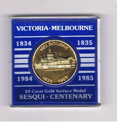 1834-35 Victoria-Melbourne Sesqui-Centenary Medal (Gold Plated) Cased.