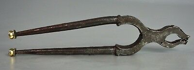 Antique 17.c Hand Forged Iron- Brass Figural Nutcracker Pliers c.1680