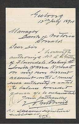 Interesting Letter Written To The Manager Of Bank Of Victoria In Donald 1894