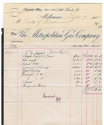 Invoice Issued In 1892 By Metropolitan Gas Company In Melbourne. Scarce.