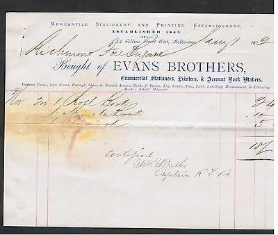 1872 Invoice Issued By Evans Brothers In Victoria For Goods Sold To Fire Brigade