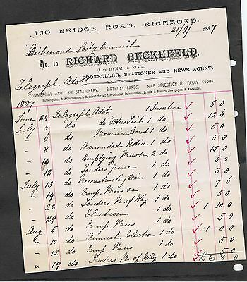 Invoice Dated 1887 Issued By Richard Beckefeld Melbourne Bookseller.