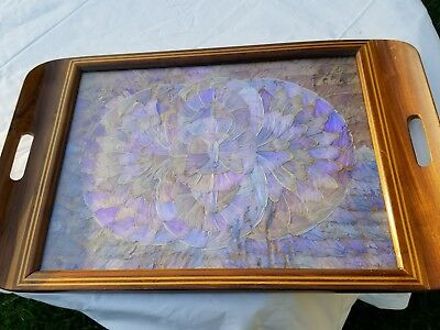 Vintage Mid Century BUTTERFLY WING ART Inlaid Parquetry Wood Serving Tray