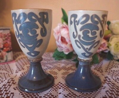 WELSH POTTERY  2 Goblets by Laugharne Pottery HANDMADE