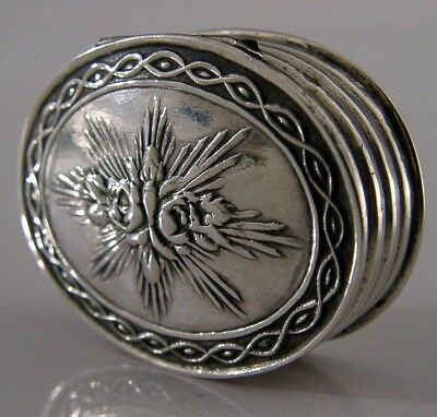 FRENCH SOLID STERLING SILVER SNUFF or PILL BOX c1910 ANTIQUE TETARD FRERES