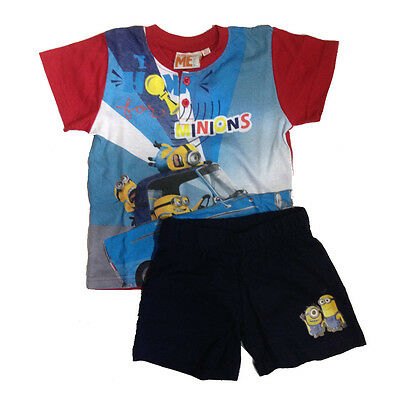 MINIONS short pajama t-shirt +shorts cotton red various sizes by bim
