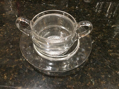 Antique Vintage Soup Nut Sugar Jam Bowl With Plate Clear Glass