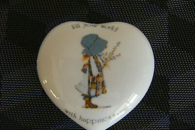 Vintage Holly Hobbie Heart shaped Trinket Box 'Fill Your World with Happiness'