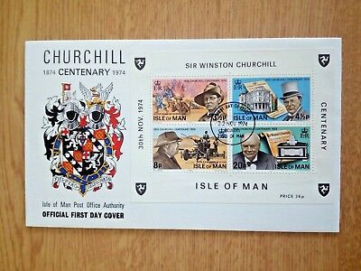 h.....FDC..CHURCHILL-1974 CENTENARY 1974..MINI SHEET...unaddressed