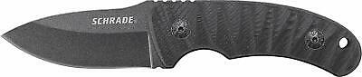 Schrade Black Carbon Steel Full Tang Fixed Blade Knife 6.26 inch with G10 Handle