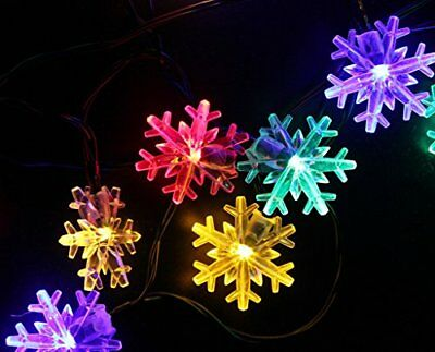 Snowflake String Light 20 ft 30 LED Waterproof Solar Power Outdoor Multicolor