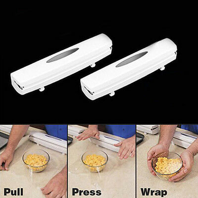 Kitchen Plastic Food Cling Wrap Foil Dispenser Cutter Holders Storage Cooking