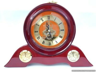 Wooden Mantel Clock Vintage Retro Fireplace Standing Wood Butterfly Mantle Piece