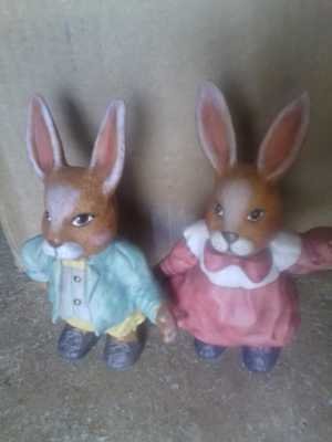 Bunny Rabbit Couple Figurines Hand Painted Ceramic Vintage Easter Decor
