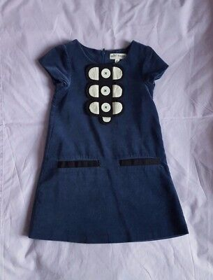 Mini Boden navy blue velvet dress girl 2-3 year