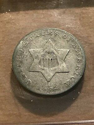 1852 US 3 Cent silver piece, circulated