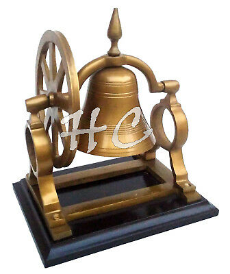 Vintage Antique Brass Ship's Bell With Mount Pulley Wheel Desk Bell on Wood Base