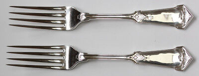 Pair Of Antique Wood & Hughes Sterling Silver Dinner Forks  No Mono - Humbolt
