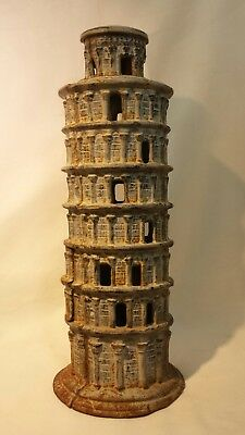 "Vintage Cast Iron Large 13"" Garden Lantern Tower Of Pisa"