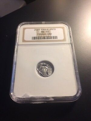 2001 Platinum American Eagle 1/10 oz $10 NGC Graded MS 70!!! Free Shipping!!!