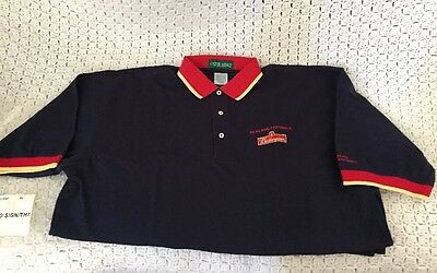 Rare Vintage Budweiser Blue Red Gold Polo Style Shirt by Outer Banks Beer Sign