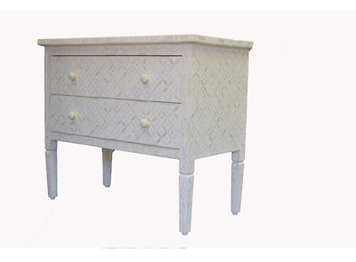 White & Bone Inlay Eye Design 2 Drawer Dresser