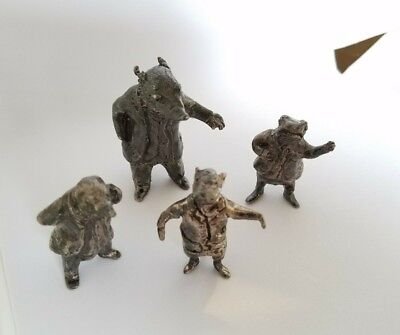 4 Wind in the Willows Lanier Sterling Silver Figures Badger Ratty Toad Mole