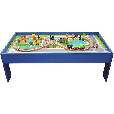 51-Piece Wooden Train Set with Table railway Double-sided play gift kids toy  sc 1 st  PicClick & 45-PIECE TRAIN Set Wooden Activity Table with Storage Bin Preschool ...
